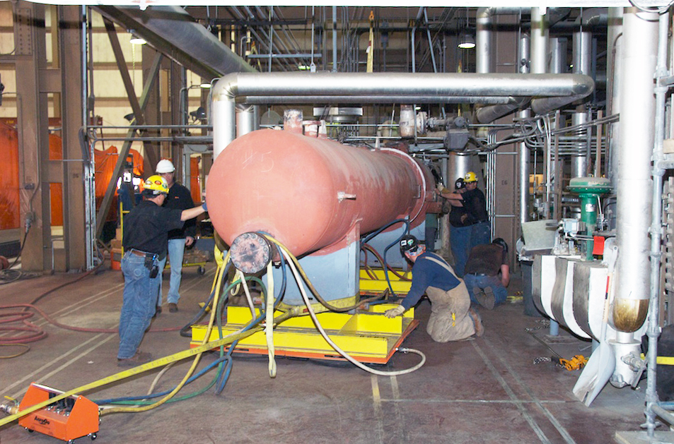 AeroGo water tank move on air casters or air palettes at the Ray Nixon Power Plant in Fountain, Colorado